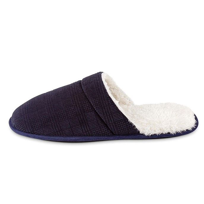 totes Mens Velour Mule Slipper With Sherpa Lining Navy