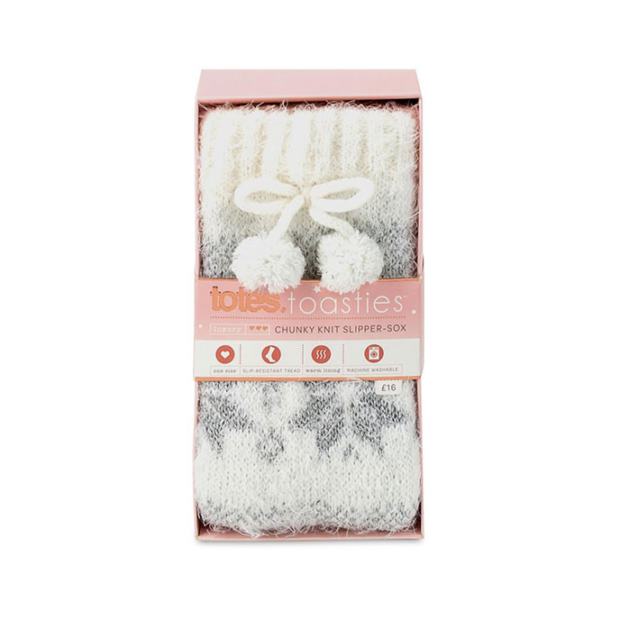 totes toasties Ladies Chunky Knitted Slipper Sock