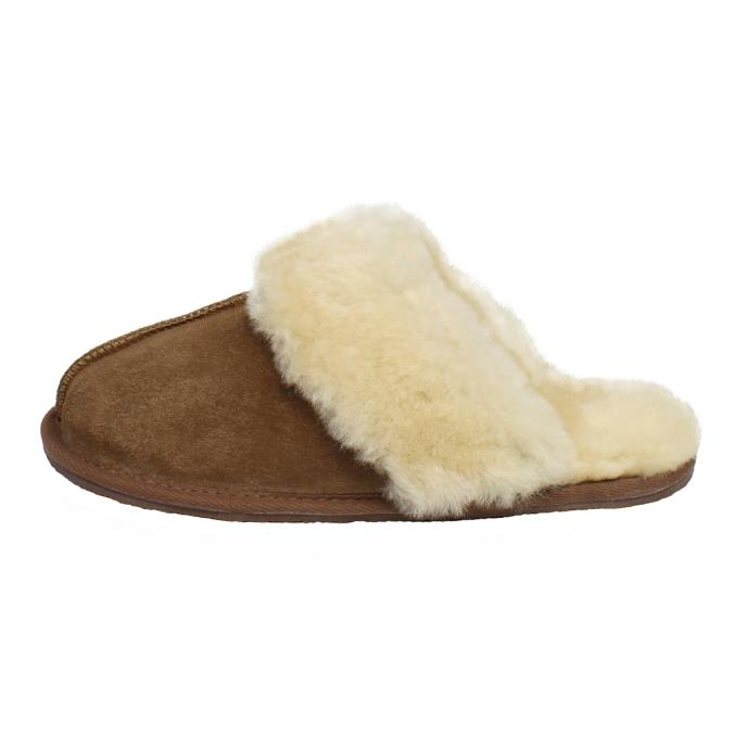 totes Ladies Sheepskin Mule Slipper Chestnut