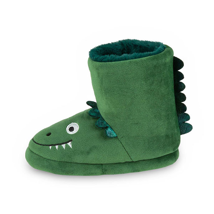totes Childrens Dinosaur Booties Green