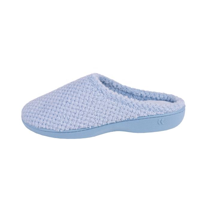 Isotoner Ladies Popcorn Terry Mule Slippers Pale Blue