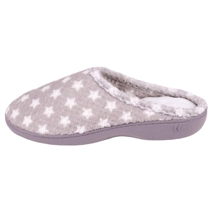 Isotoner Ladies Popcorn Terry Mule Slippers Grey Star