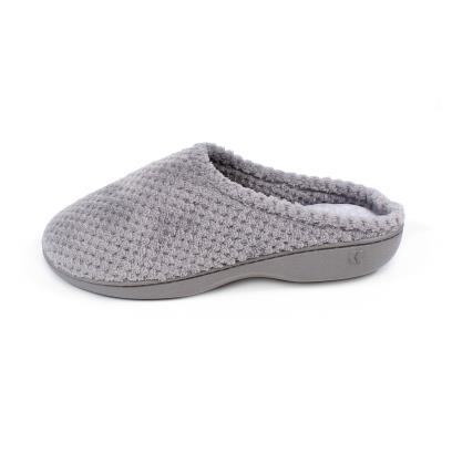 Isotoner Ladies Popcorn Terry Mule Slippers Pale Grey