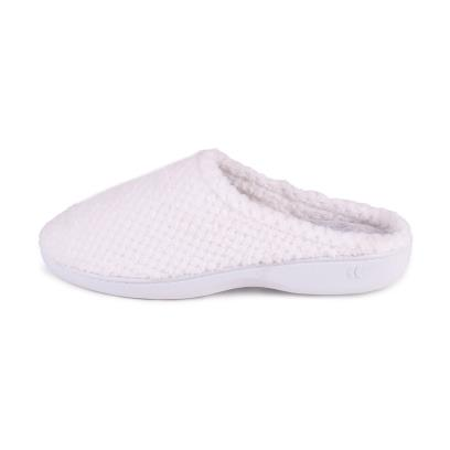 Isotoner Ladies Popcorn Terry Mule Slippers White with Marl Grey