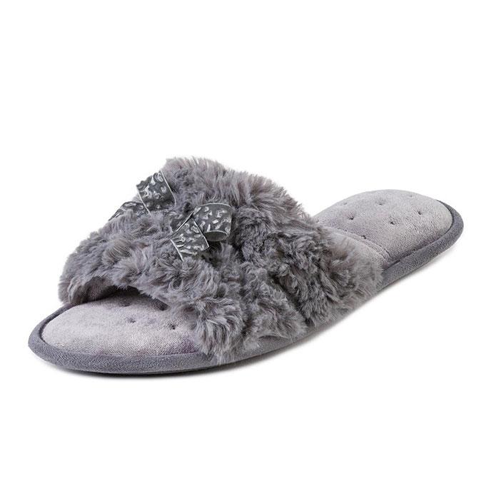 c1f4d9fdc0c8 Isotoner Ladies Fur Sliders Grey Extra Image 1