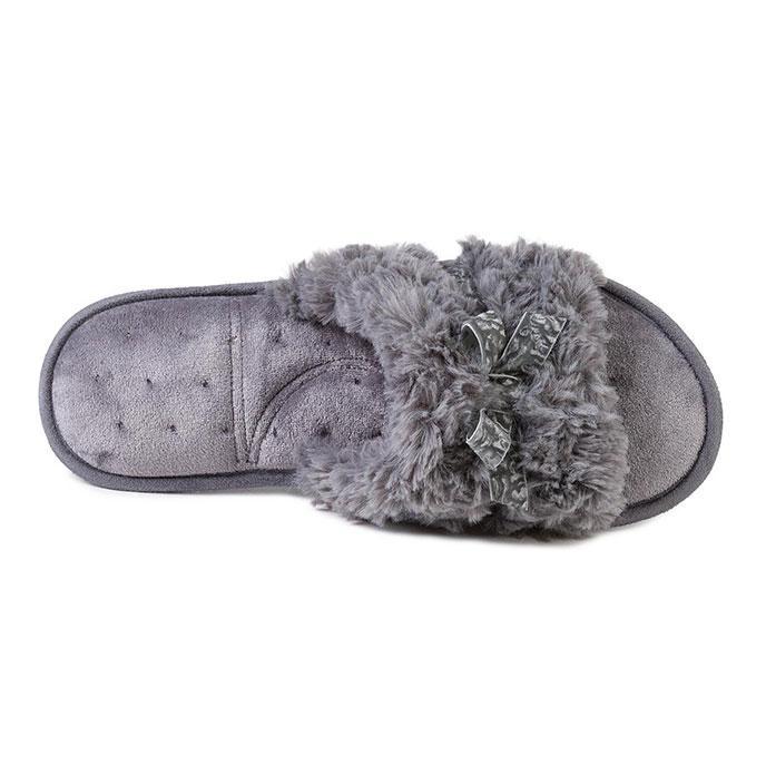c59c76d5dd4c Isotoner Ladies Fur Sliders Grey Extra Image 3