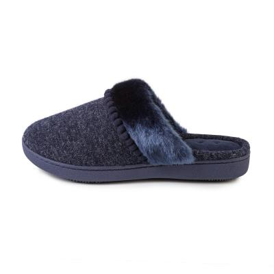Isotoner Ladies Fine Knit Mule Slippers Navy