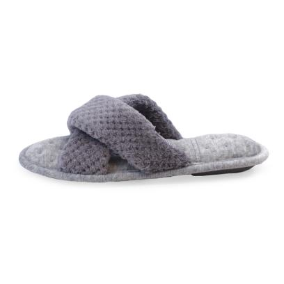 Isotoner Ladies Popcorn Cross Strap Open Toe Slippers Pale Grey