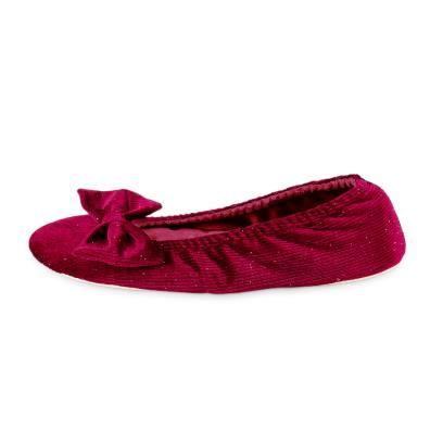 Isotoner Ladies Sparkle Velour Big Bow Ballet Slippers Berry