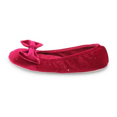 Isotoner Ladies Sparkle Velour Big Bow Ballet Slippers Red