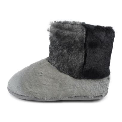Isotoner Ladies Faux Fur Bootie Slippers Grey