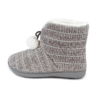 Isotoner Ladies Chenille Bootie Slippers Grey