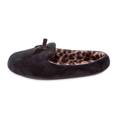 Isotoner Ladies Swept Back Mule Slippers Black with Animal
