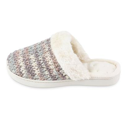 Isotoner Ladies Knit Mule With Faux Fur Cuff Slippers  Cream Multi