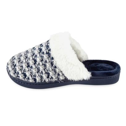 Isotoner Ladies Knit Mule With Faux Fur Cuff Slippers  Navy