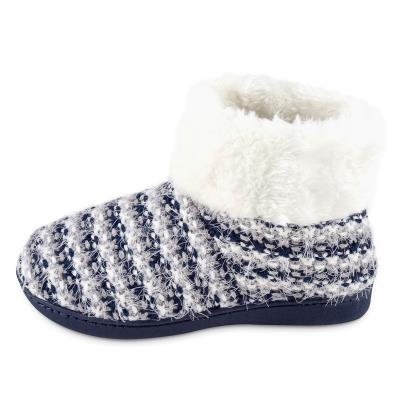 Isotoner Ladies Knit  Boot With Faux Fur Cuff Slippers Navy