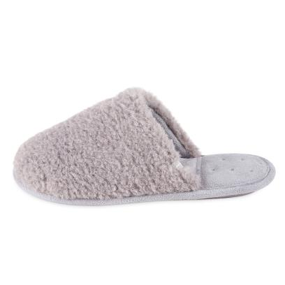 Isotoner Ladies Textured Fur Mule Slippers Grey