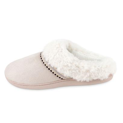Isotoner Ladies Woodland Mule Suedette Slippers Beige