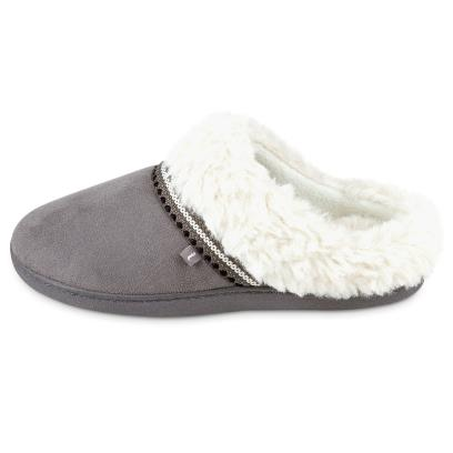Isotoner Ladies Woodland Mule Suedette Slippers Grey