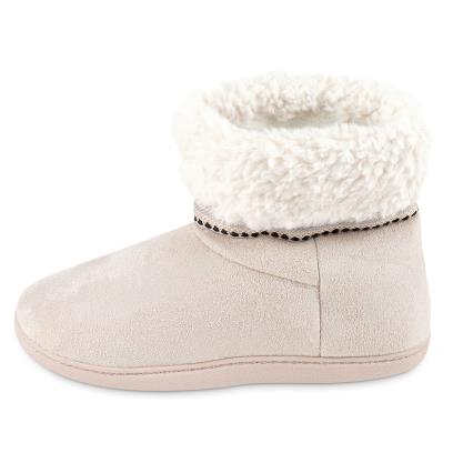 Isotoner Ladies Woodland Suedette Boot Slippers Beige