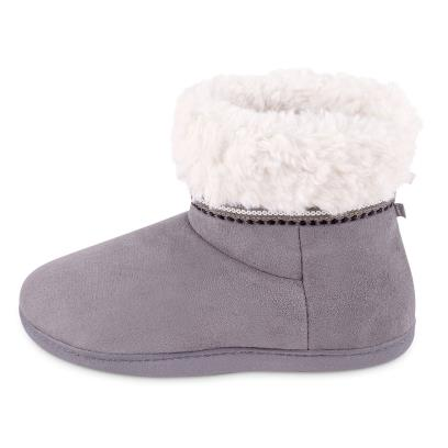 Isotoner Ladies Woodland Suedette Boot Slippers Grey