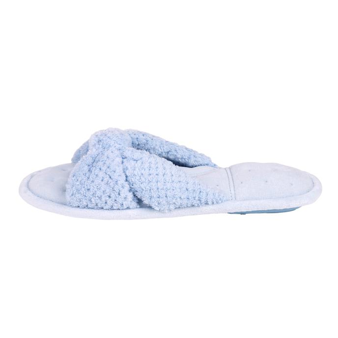 Isotoner Ladies Knot Front Popcorn Open Toe Slippers Pale Blue