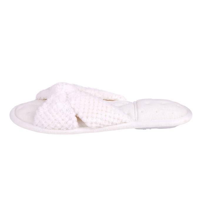 Isotoner Ladies Knot Front Popcorn Open Toe Slippers White