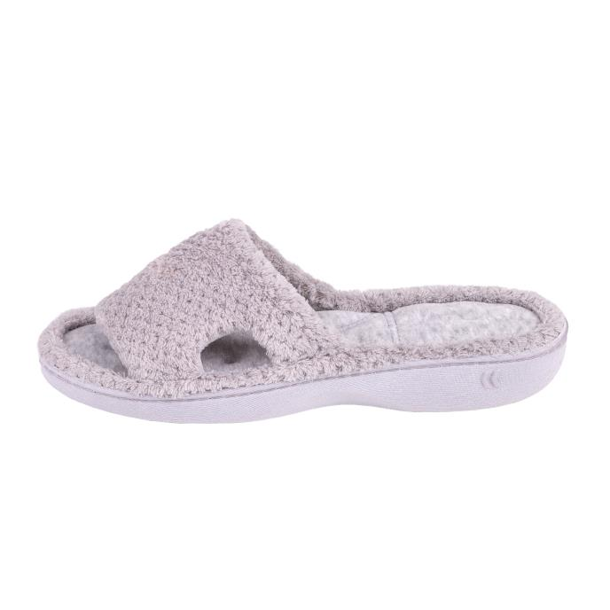 Isotoner Ladies Popcorn Cut Out Sliders Pale Grey