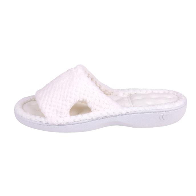 Isotoner Ladies Popcorn Cut Out Sliders White