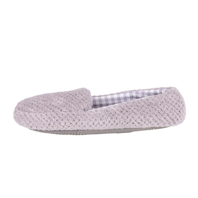 Isotoner Ladies Popcorn Moccasin Slippers Grey & Gingham