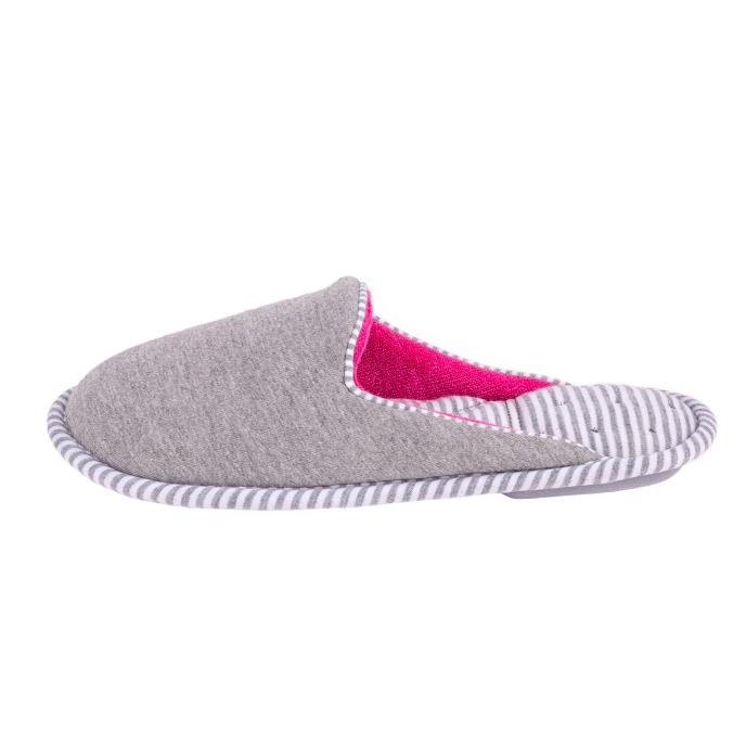 Isotoner Ladies Striped Mule Slippers Grey