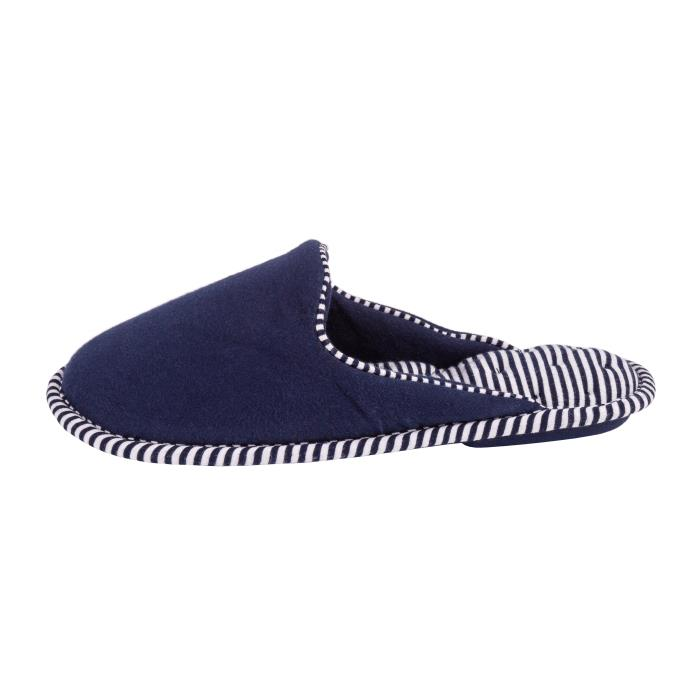 Isotoner Ladies Striped Mule Slippers Navy
