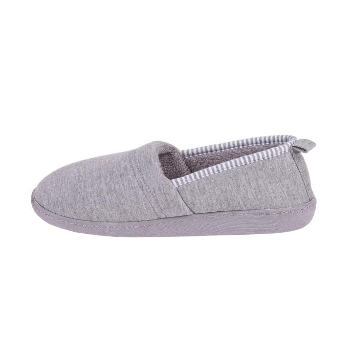 Isotoner Ladies Striped Full Backed Slippers Grey