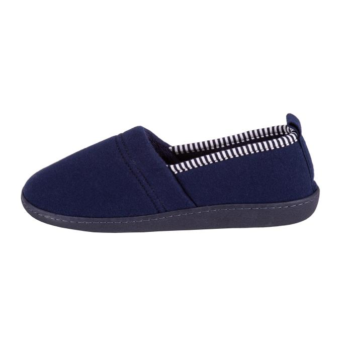 Isotoner Ladies Striped Full Backed Slippers Navy