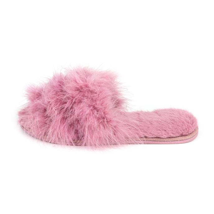 Isotoner Ladies Marabou Fur Sliders Dusky Pink