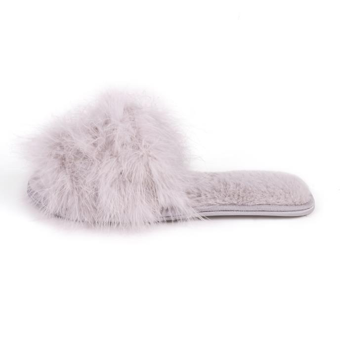 Isotoner Ladies Marabou Fur Sliders Grey