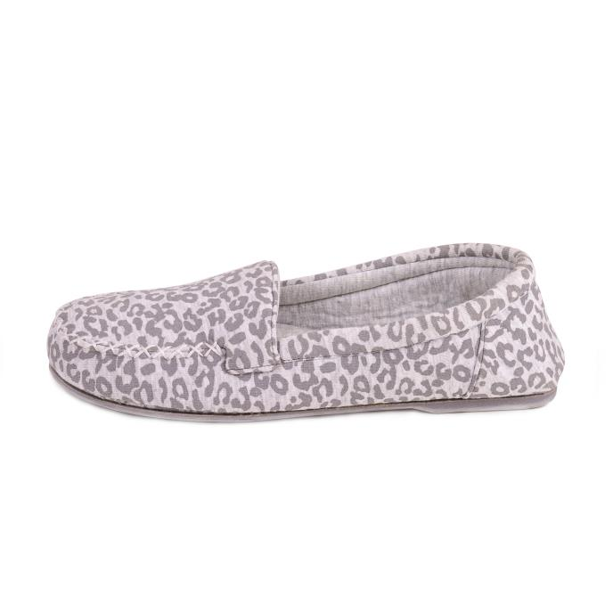 Isotoner Ladies Jersey Moccasin Slippers Animal/Grey
