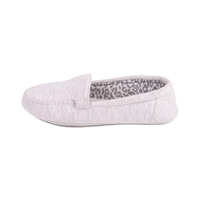 Isotoner Ladies Jersey Moccasin Slippers Grey