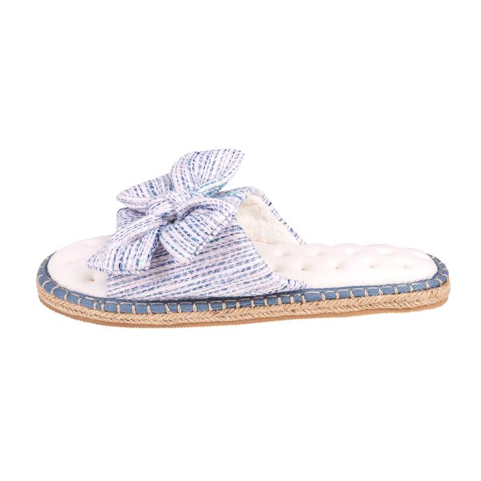 Isotoner Ladies Espadrille Bow Open Toe Slippers Blue