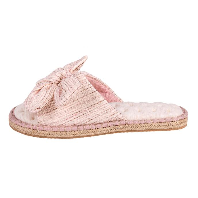 Isotoner Ladies Espadrille Bow Open Toe Slippers Blush