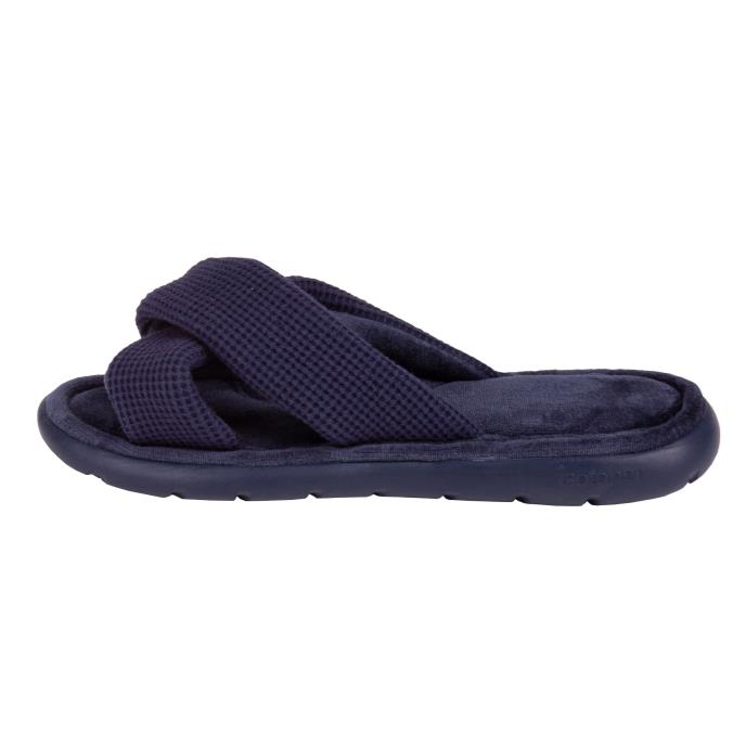 Isotoner Ladies i-flex Waffle Open Toe Slippers Navy
