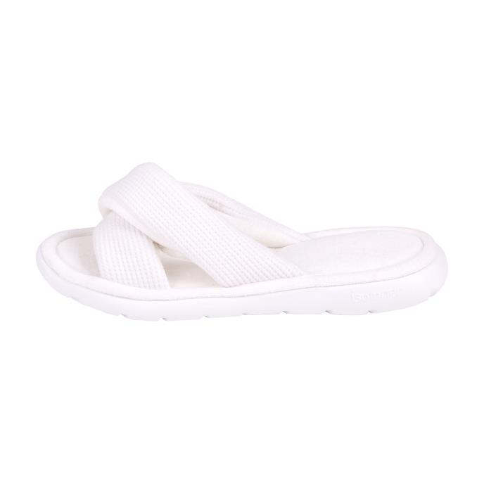 Isotoner Ladies i-flex Waffle Open Toe Slippers White