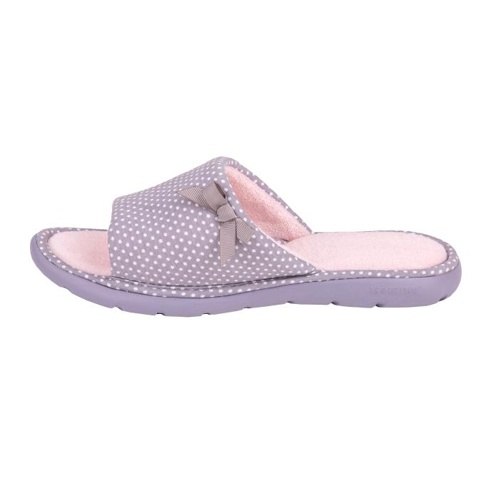 Isotoner Ladies i-flex Spotted Sliders Grey Spot