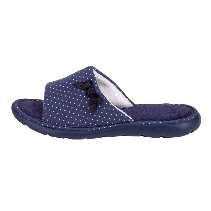 Isotoner Ladies i-flex Spotted Sliders Navy Spot