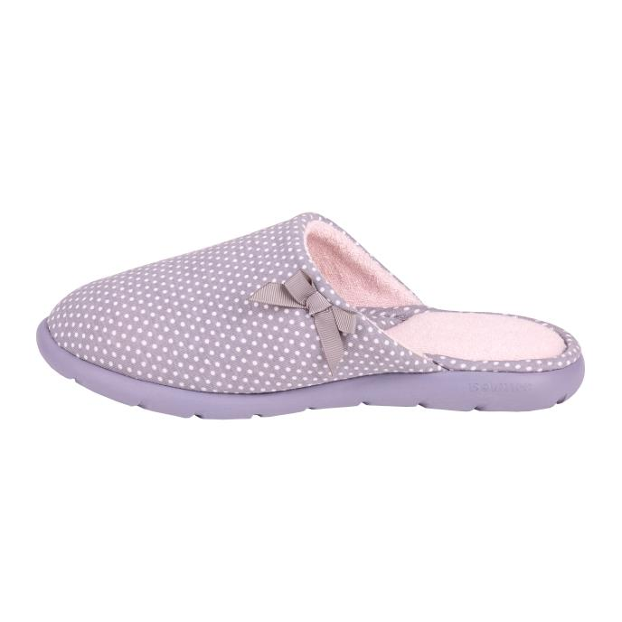 Isotoner Ladies i-flex Spotted Mules Grey Spot