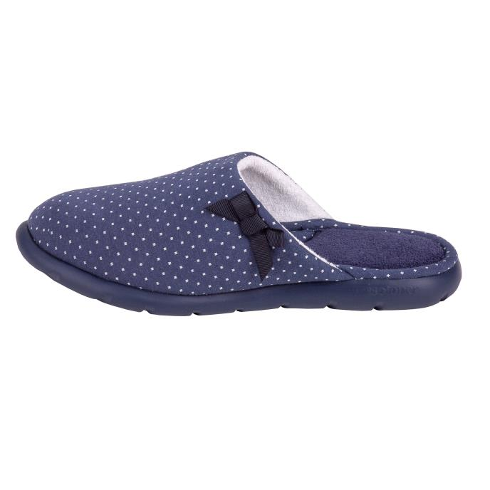 Isotoner Ladies i-flex Spotted Mules Navy Spot