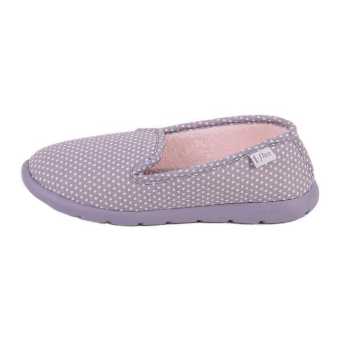 Isotoner Ladies i-flex Spotted Fully Backed Slippers Grey Spot