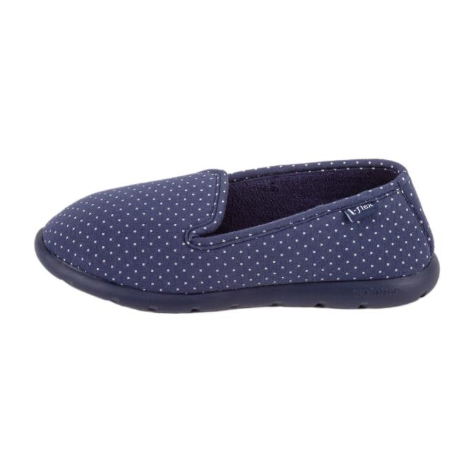 Isotoner Ladies i-flex Spotted Fully Backed Slippers Navy Spot