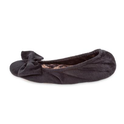Isotoner Ladies Velour Ballet With Big Bow Slippers Black with Animal