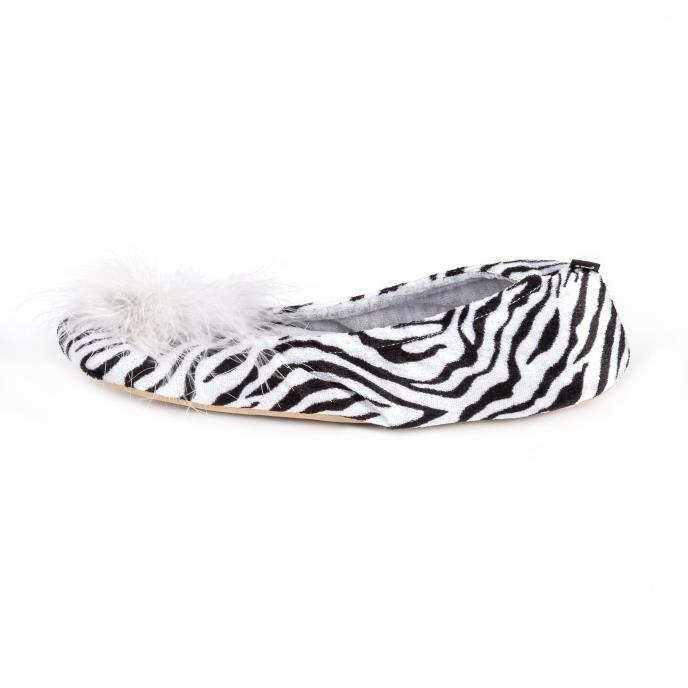 Isotoner Ladies Velour Ballet With Big Bow Slippers Grey with Zebra
